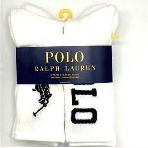🆕 Polo Ralph Lauren Big Logo Crew Socks 6 pack